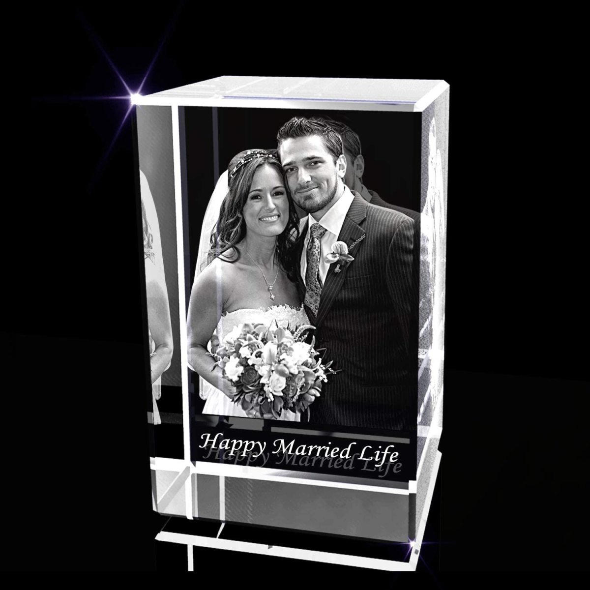 Personalized Anniversary 3D Engraved Crystal Photo Gift for Her