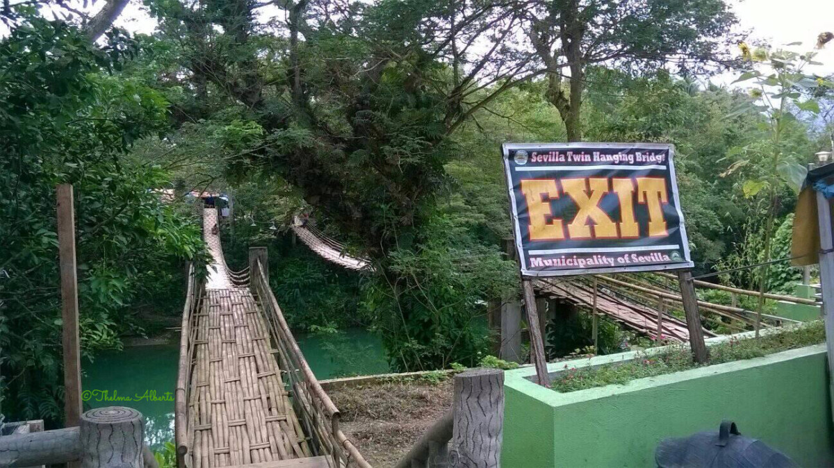 The front view of the Twin Hanging Bridge in Sevilla, Bohol.