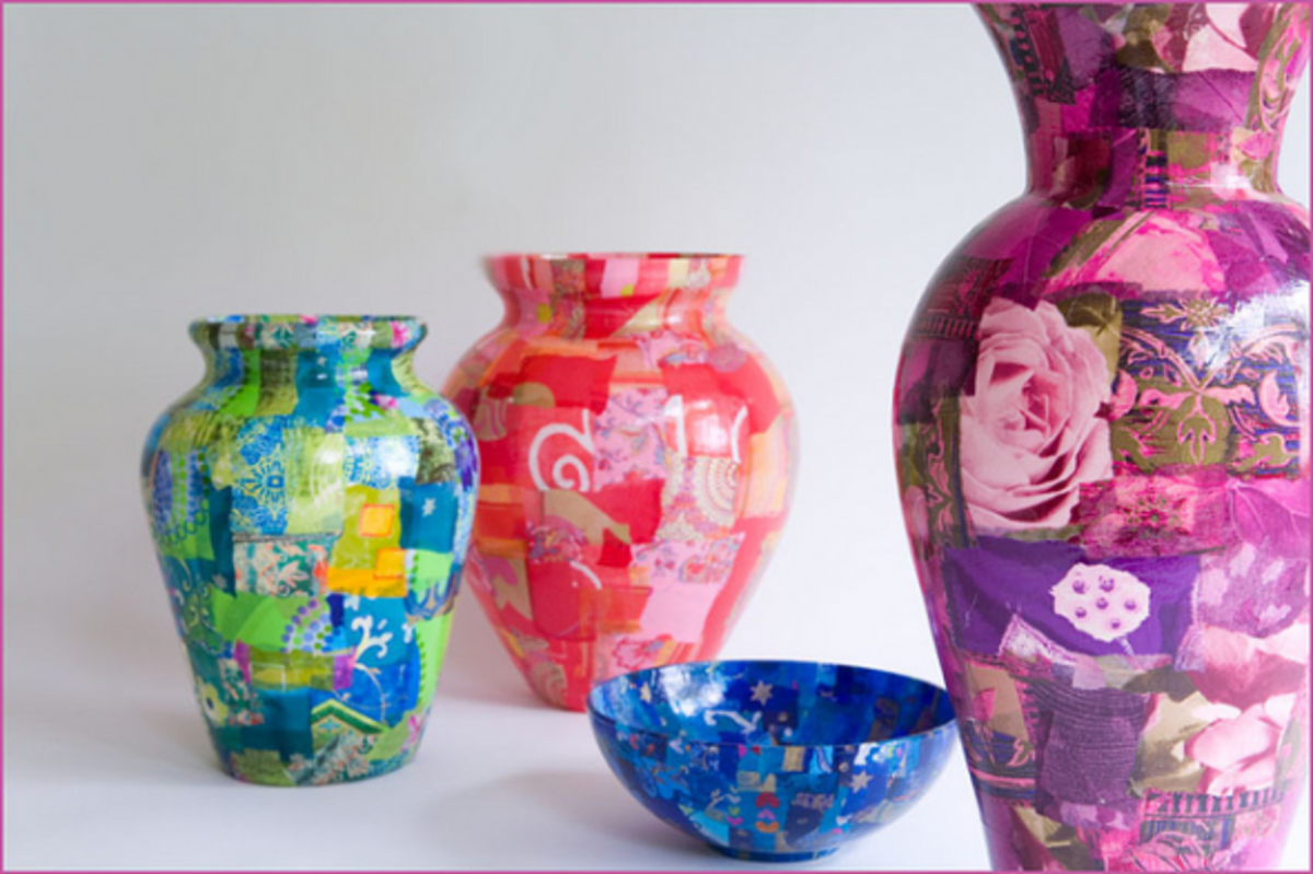 Layers of paper have been decoupaged onto vases, then varnished.