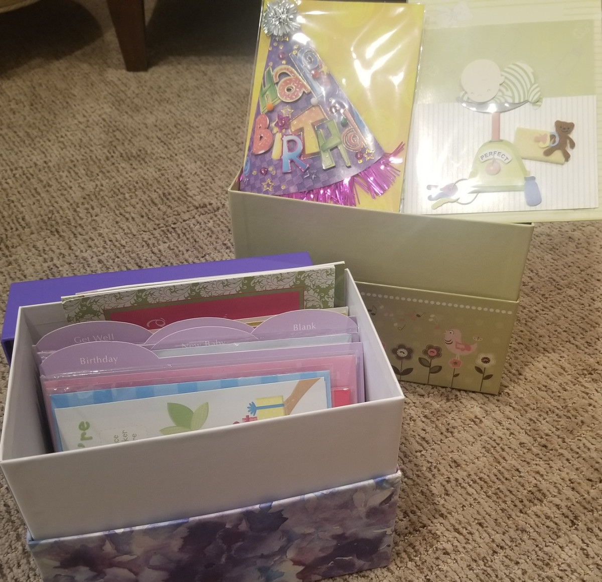 You may not get to choose each individual card, but purchasing boxed greeting cards  helps save money on cards.
