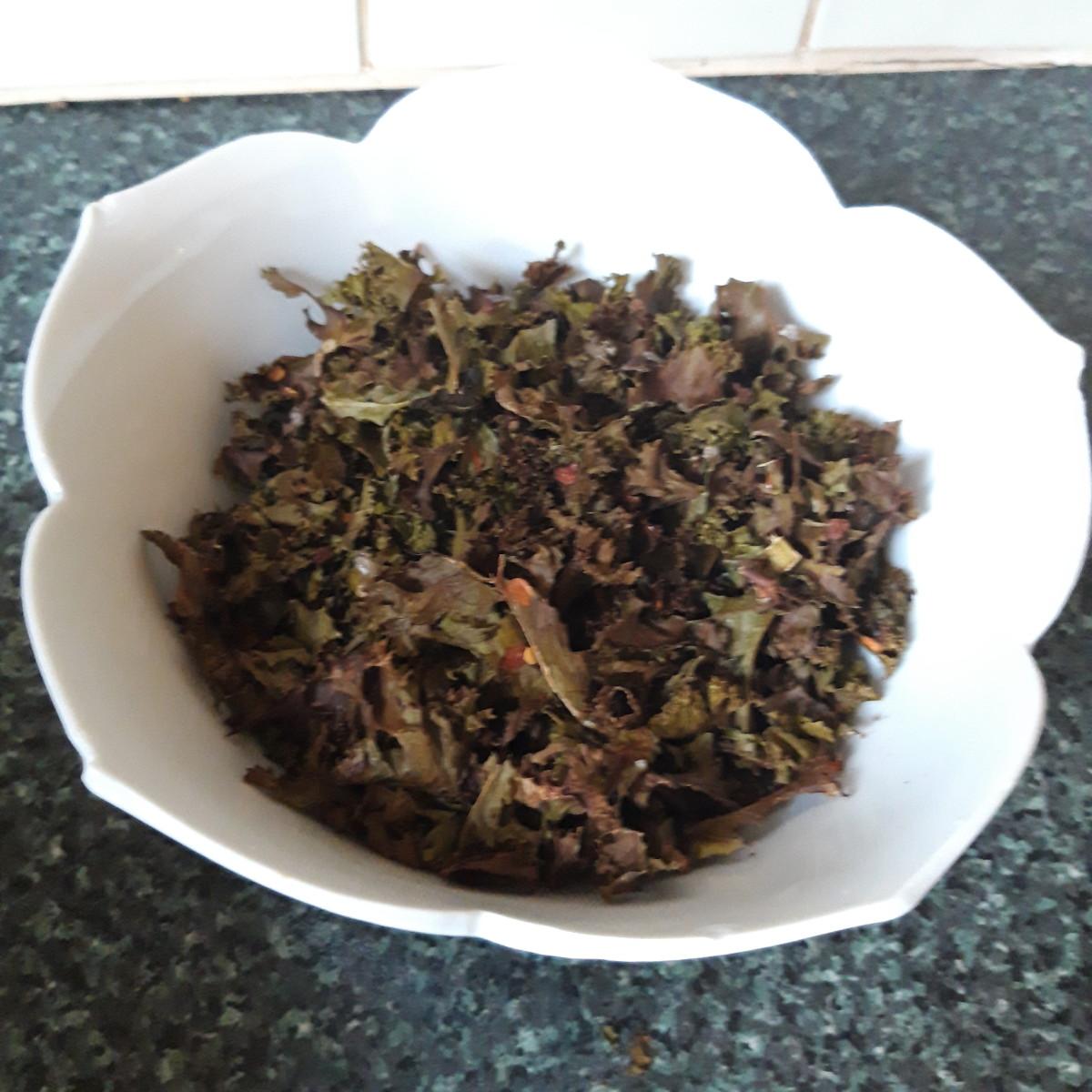 Crispy kale, ready to serve!