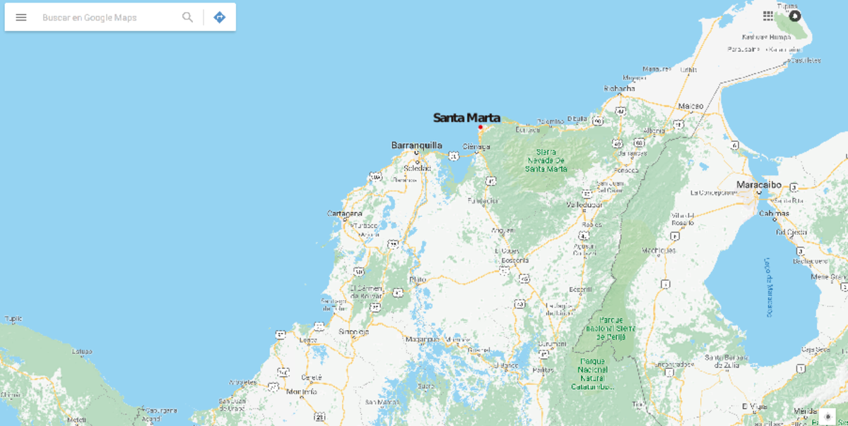 Geographical location of Santa Marta.