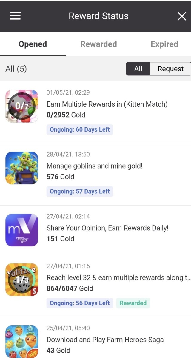 Track your TapJoy offers and rewards in the menu!