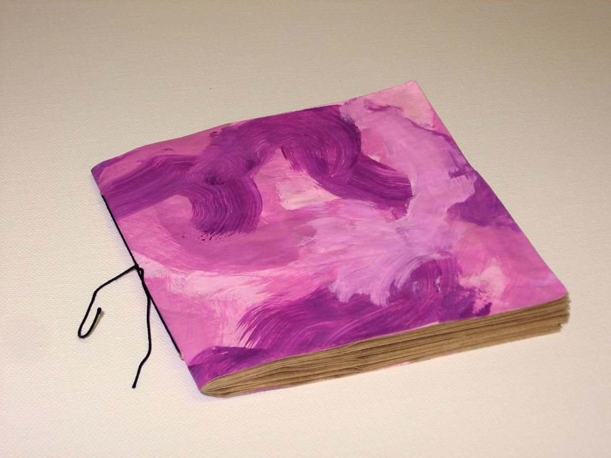 Pink painted paper bag book