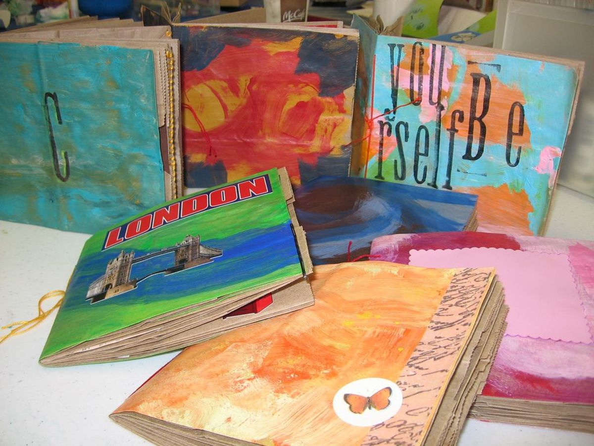 Colorful paper bag journals made at my first workshop