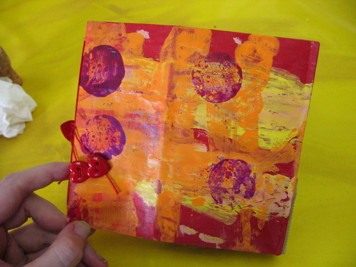 Vibrant red and orange paper bag book made by a 6-year-old student