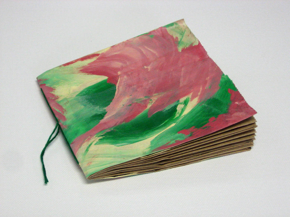 Pink and green paper bag book