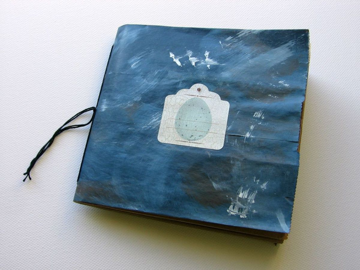 Blue paper bag book with tag