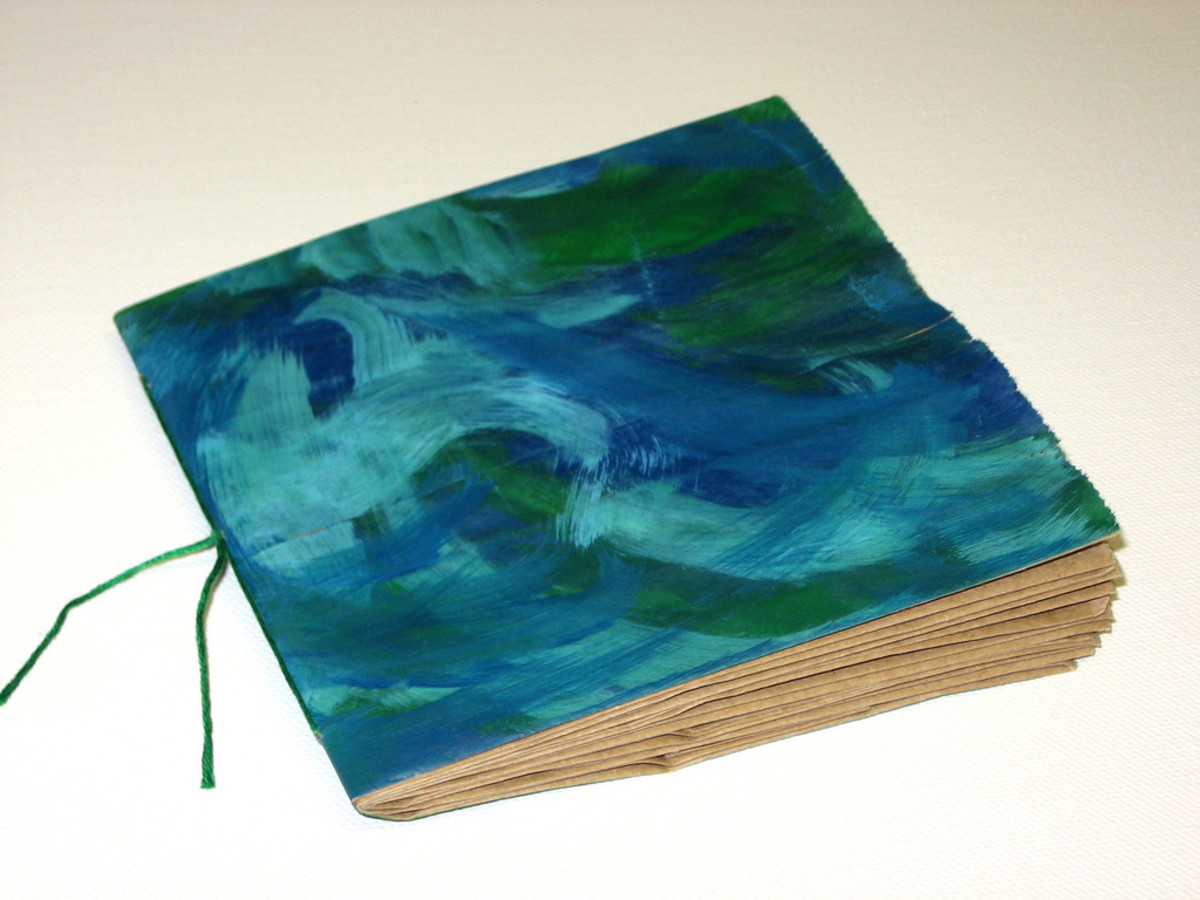 Blue and green paper bag book