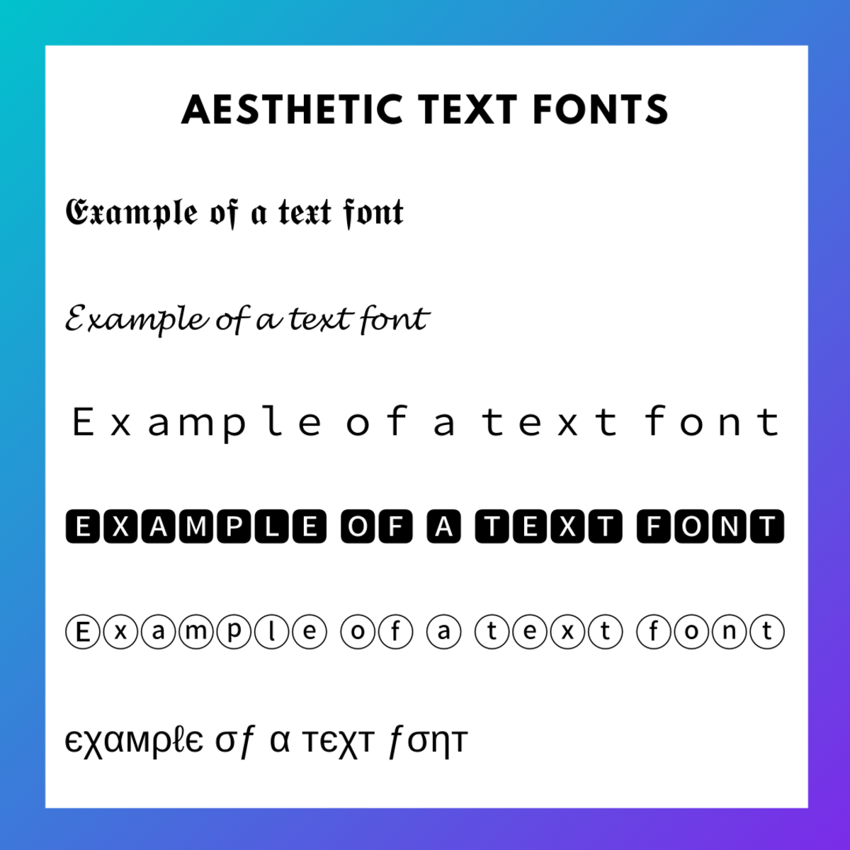 Aesthetic fonts you could apply to your TikTok name.