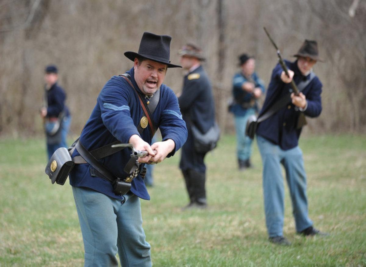Living Historians at Bayonet Drill - On The Left, Shorten, Thrust