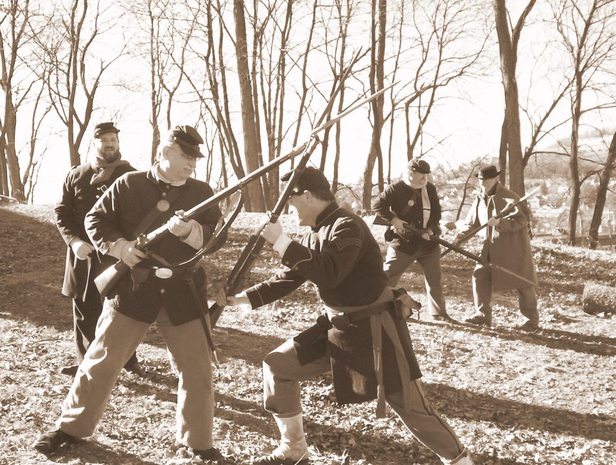 Living Historians of Company A, 38th PA Volunteers at bayonet practice