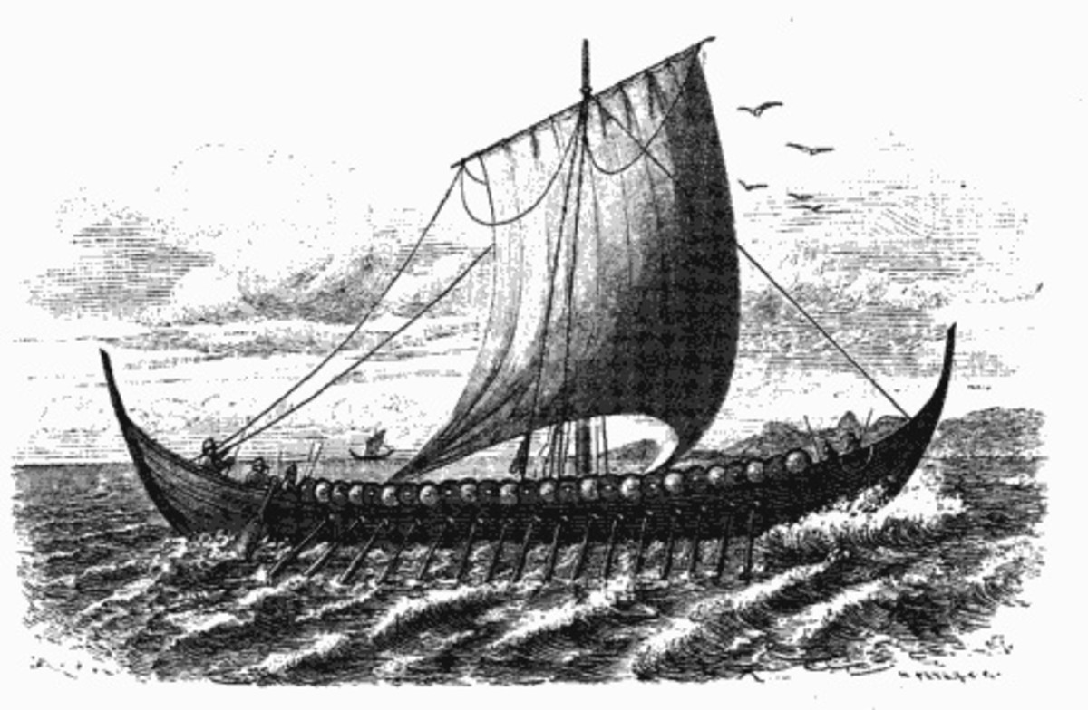 A drawing of a 10th century Viking Ship, circa 1881 (public domain image)