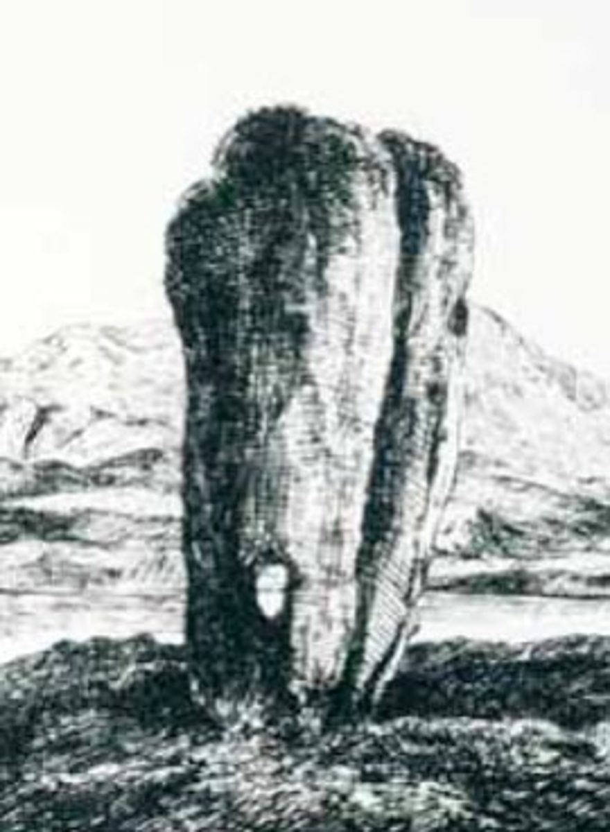 A sketch of Odin's Stone from the 1800s, artist unknown. (public domain image)