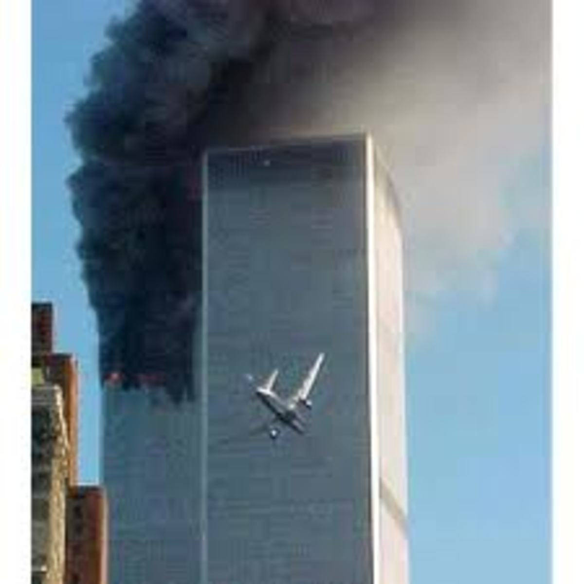 This is the event that has destroyed world peace and changed the world. This photo was taken, when a second plane driven by the terrorists, is just about to crash on the second tower, in New York.