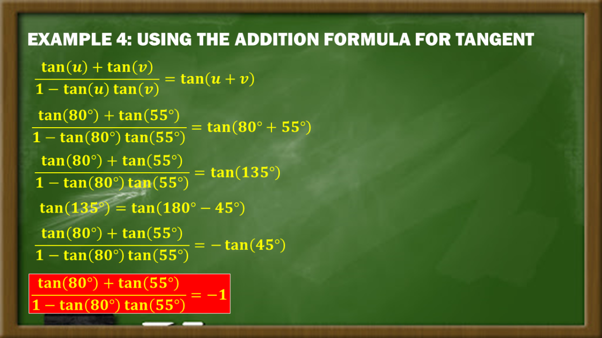 Example 4: Using the Addition Formula for Tangent