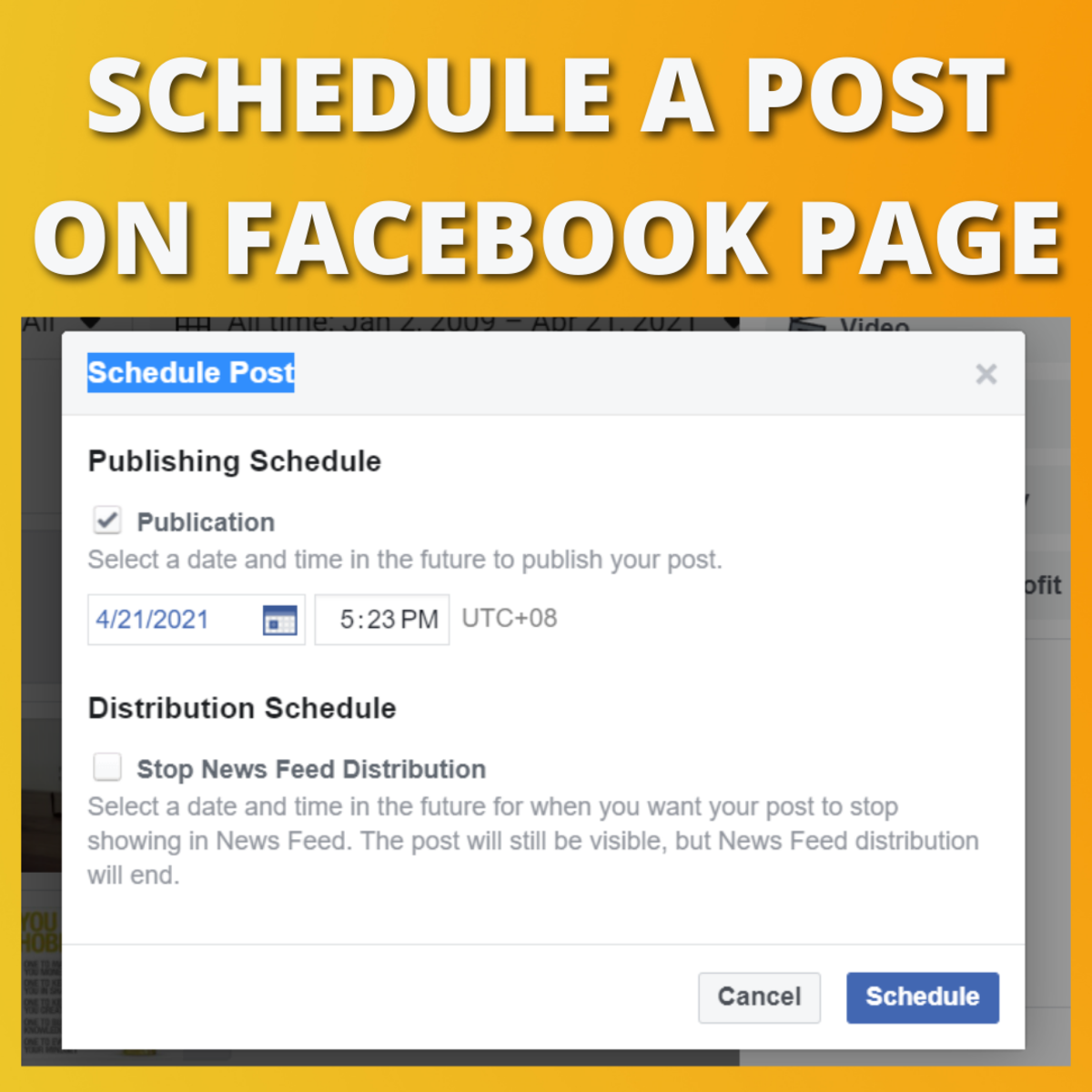 Choose the date and time you'd like to schedule your post.