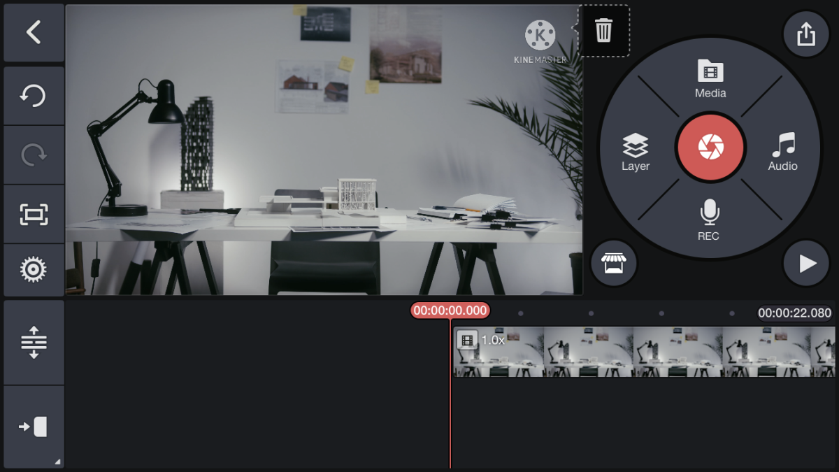 For this tutorial, we're going to use the editing interface of KineMaster as an example.