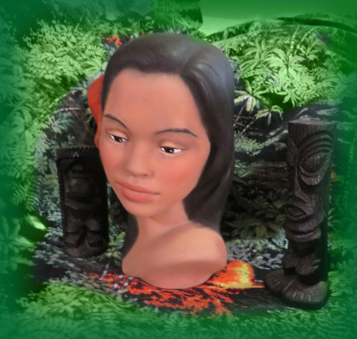 . She is a beauty with long black hair adorned with two pretty soft red hibiscus flowers along one side of her head. Her lips are a flesh tone. This is a beautiful example of a handmade, and made in Hawaii Polynesian girl head bust. She is about eigh