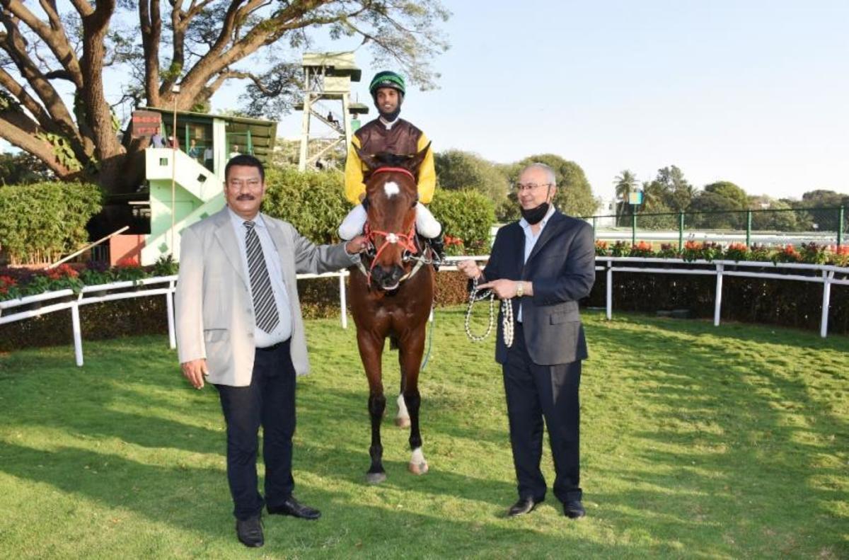 Harmonia, with Champion Apprentice Jockey Arul JH up trained by K Pradeep Annaiah and owned by Rajan Aggarwal and Gautam Aggarwal