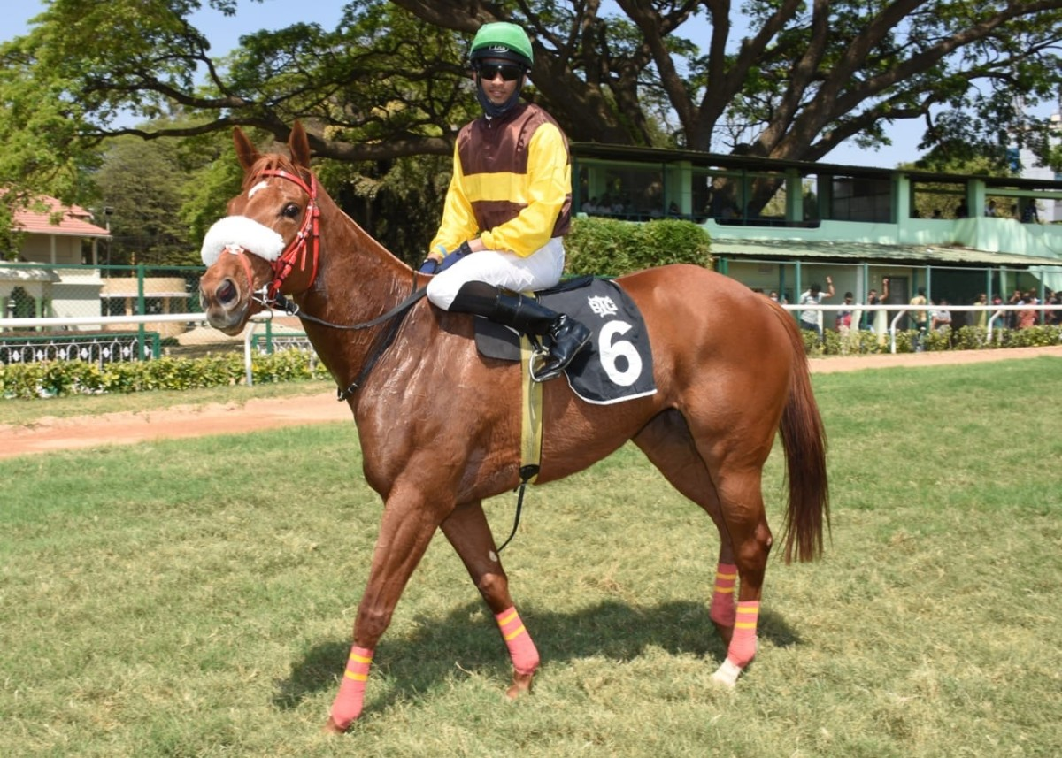 Rule Of Engagement, with Champion Apprentice Jockey Arul JH up trained by K Pradeep Annaiah and owned by Rajan Aggarwal and Gautam Aggarwal