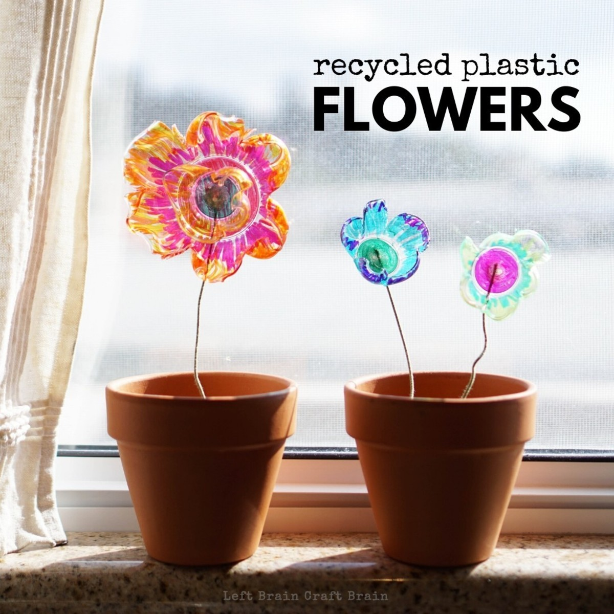 Make plastic flowers from recycled plastic