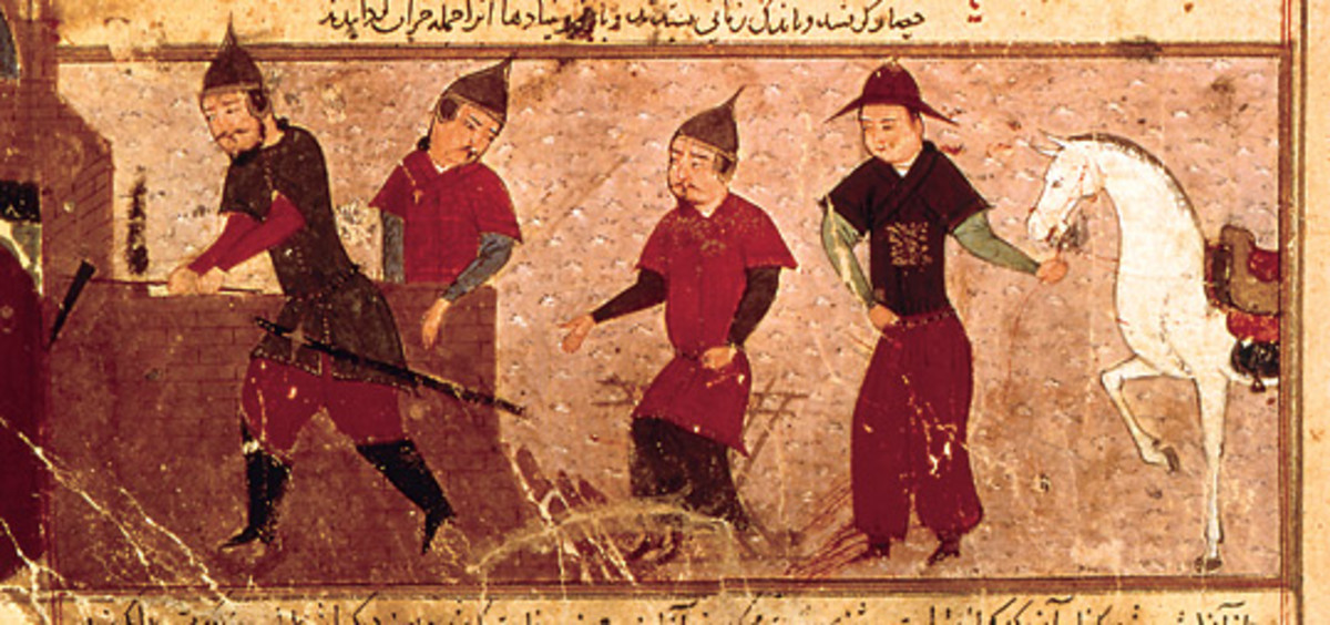 ca. 1430 ~ See: http://en.wikipedia.org/wiki/File:Genghis_Khan_and_three_of_his_four_sons.jpg