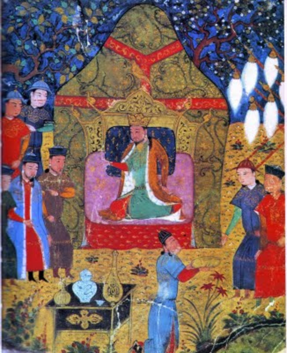 Genghis Khan's enthronement  See: http://en.wikipedia.org/wiki/File:Genghis_Khan%27s_enthronement_in_1206.jpg