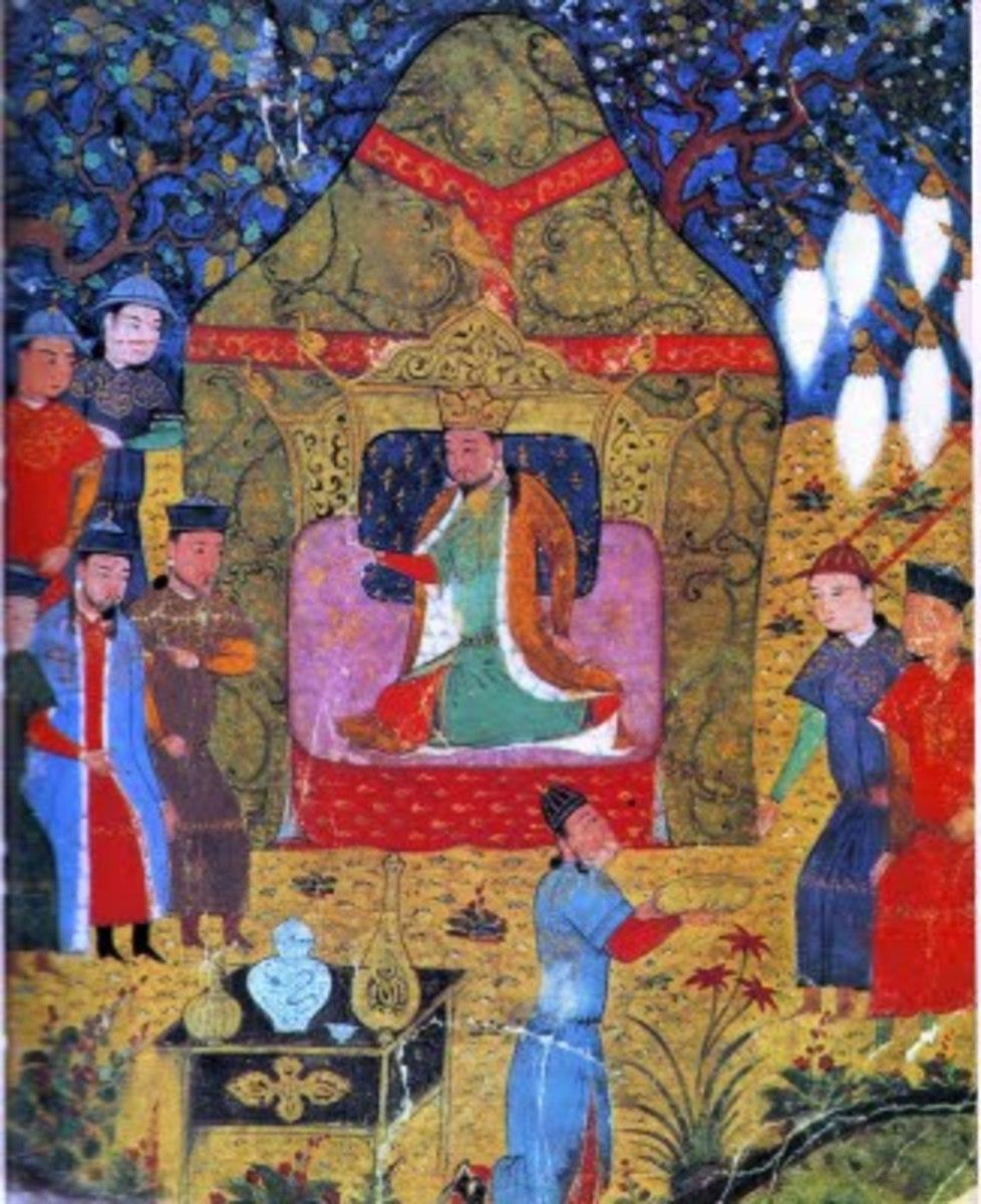 Genghis Khan's enthronement  See: http://en.wikipedia.org/wiki/File:Genghis_Khan%27s_enthronement_in_1206.jpg