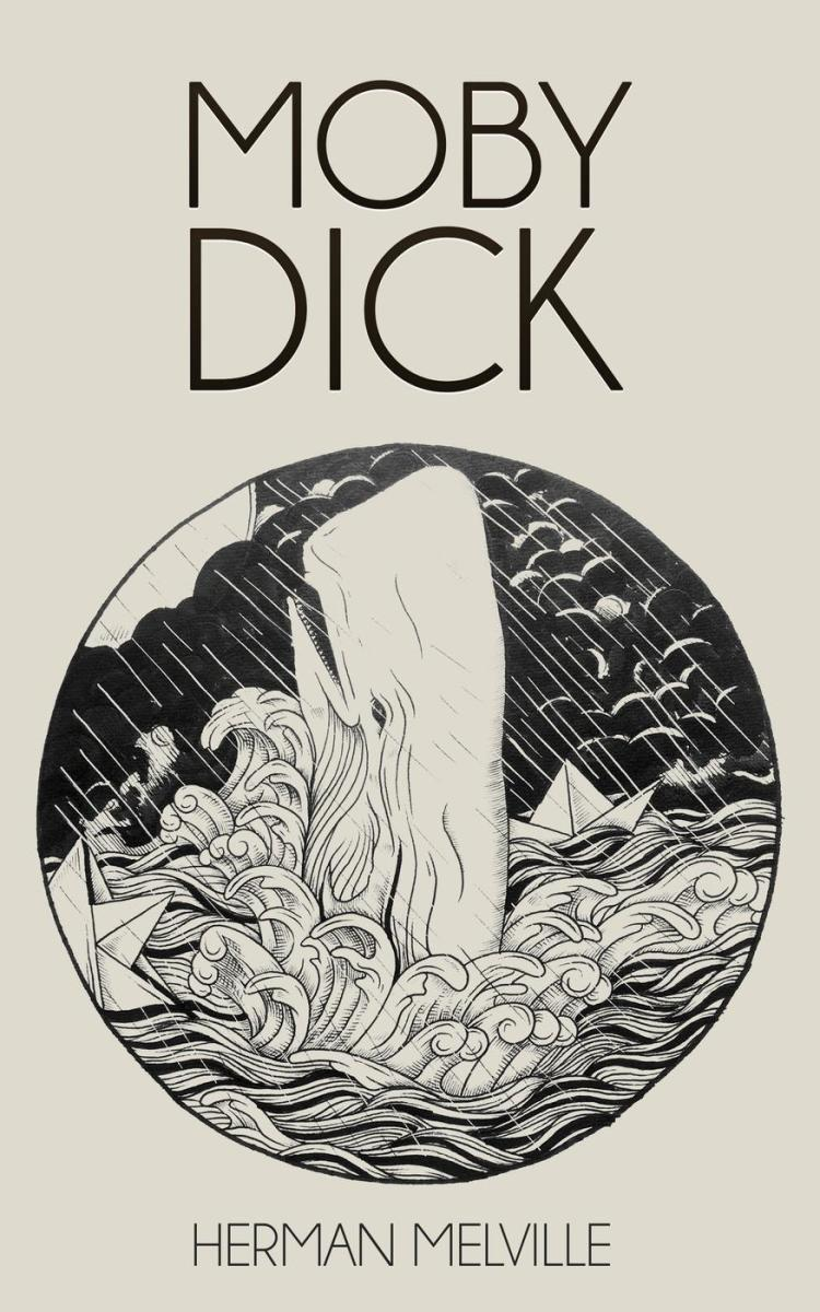 """Moby Dick"" illustrated version, cover art."