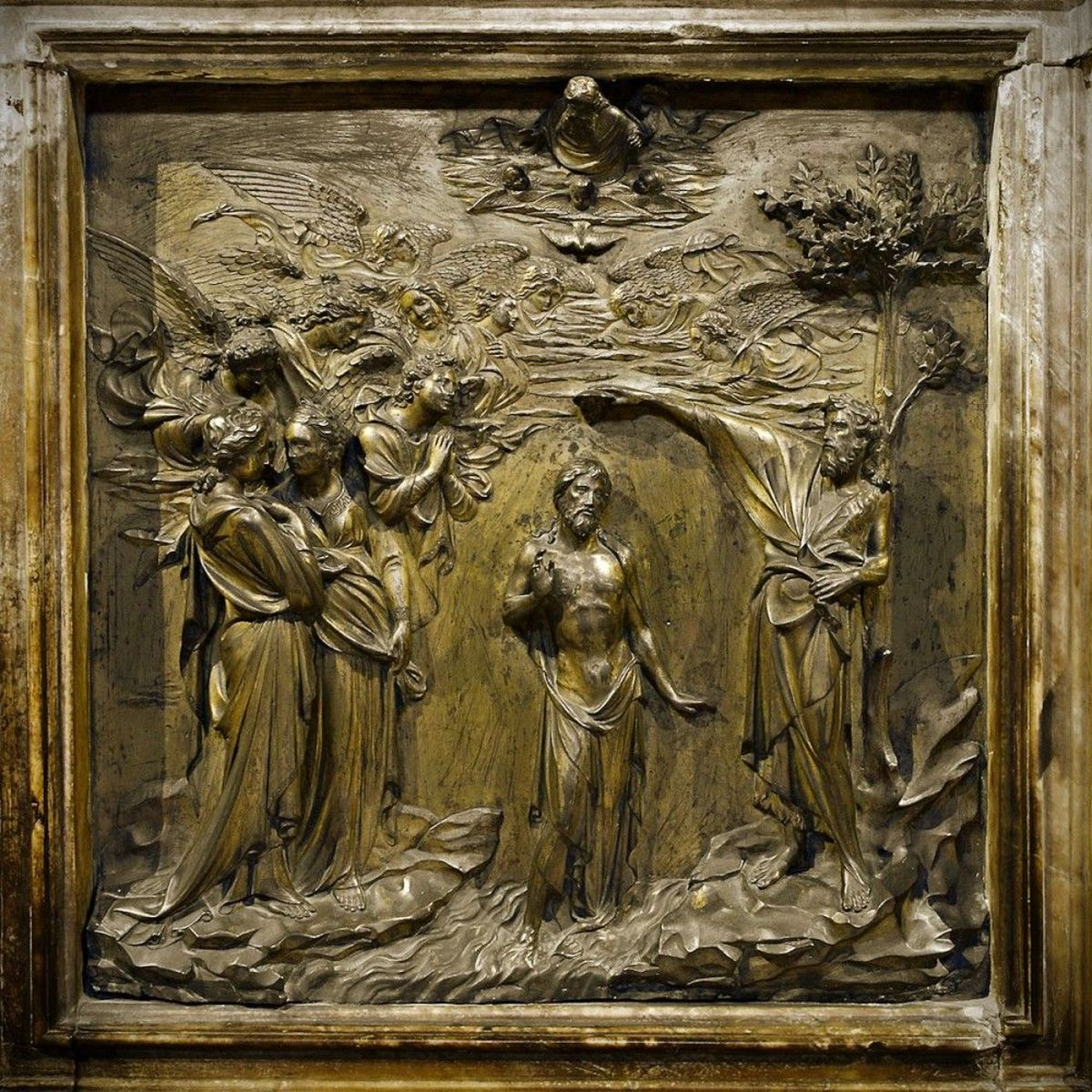 Figure 2: Lorenzo Ghiberti, Baptism of Christ. 1378-1455, Gilt bronze, 45 x 52 cm. Reproduced from: fifth panel of the North Doors of the Baptistery of San Giovanni. https://www.wga.hu/html_m/g/ghiberti/various/baptism1.html.
