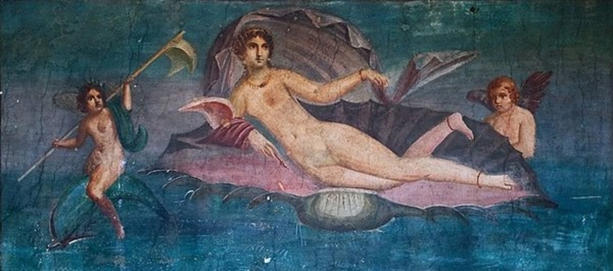 Figure 4: Apelles, Venus Rising from the Sea. 1st Century CE. Fresco, Unknown dimensions. Reproduced from: House of Venus. https://www.thecollector.com/apelles-antiquity-painter/.