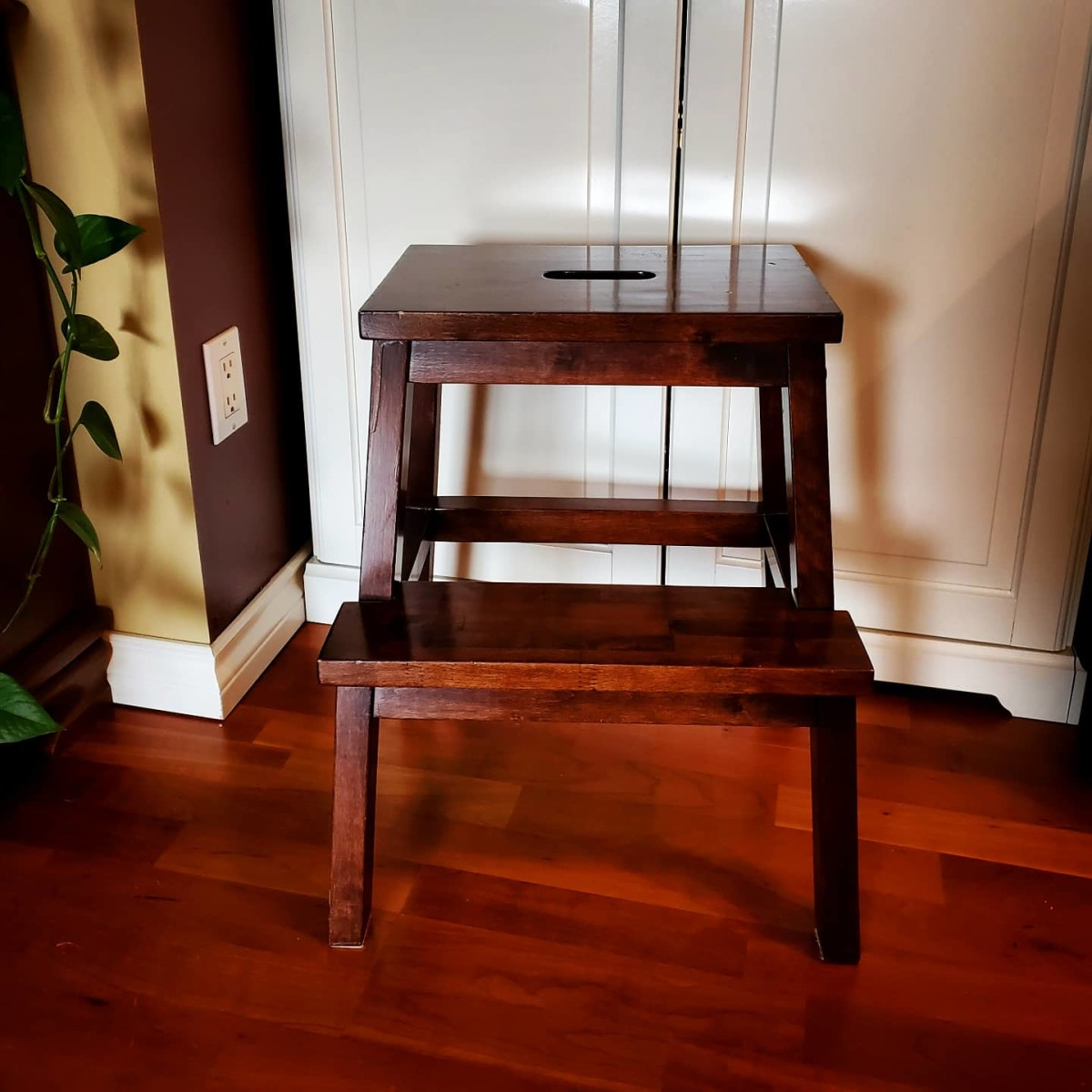 The Portable Stool. This step-stool is not only to reach for things up high, it can be used as a seat and an occasional table.