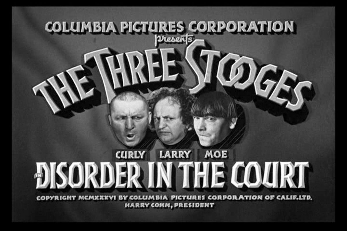 """""""Disorder in the Court"""" (1936) is one of only four Stooge films in the public domain, the only public-domain film with Curly, and the first to bill Curly ahead of Larry and Moe."""