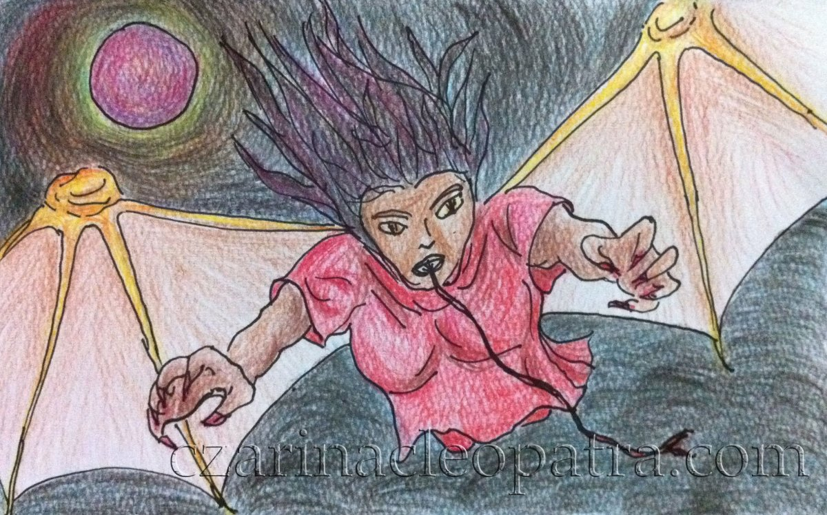 The 'aswang', also known as 'manananggal', is depicted as a woman with a half body and giant bat wings. Her thread-like tongue is used to suck babies while still inside the mother's womb.