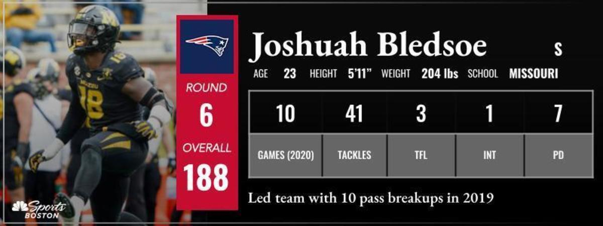 The Patriots select Joshuah Bledsoe from Missouri in the 6th round with the 188th pick.
