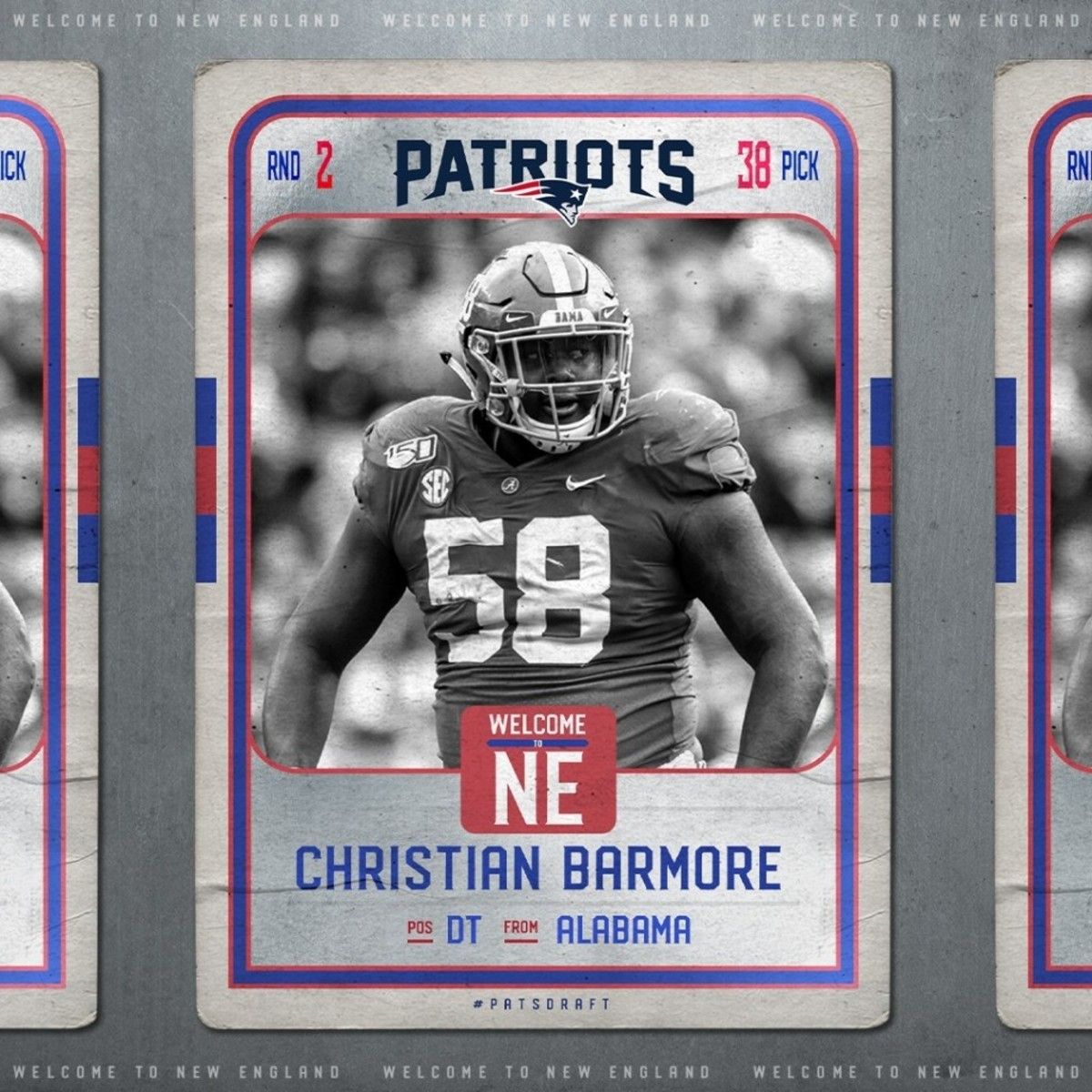 The Patriots trade up in the draft to grab Mac Jones' teammate and highly scouted prospect Christian Barmore with the 38th pick in the second round.