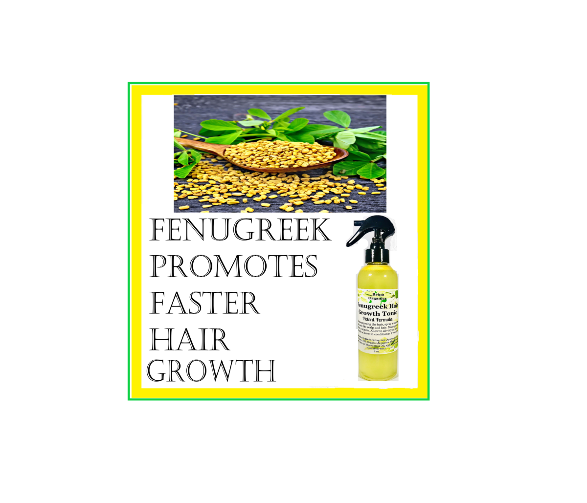 This Fenugreek Hair Tonic absorbs into the hair giving it nourishment, stimulating new growth, and thicker hair