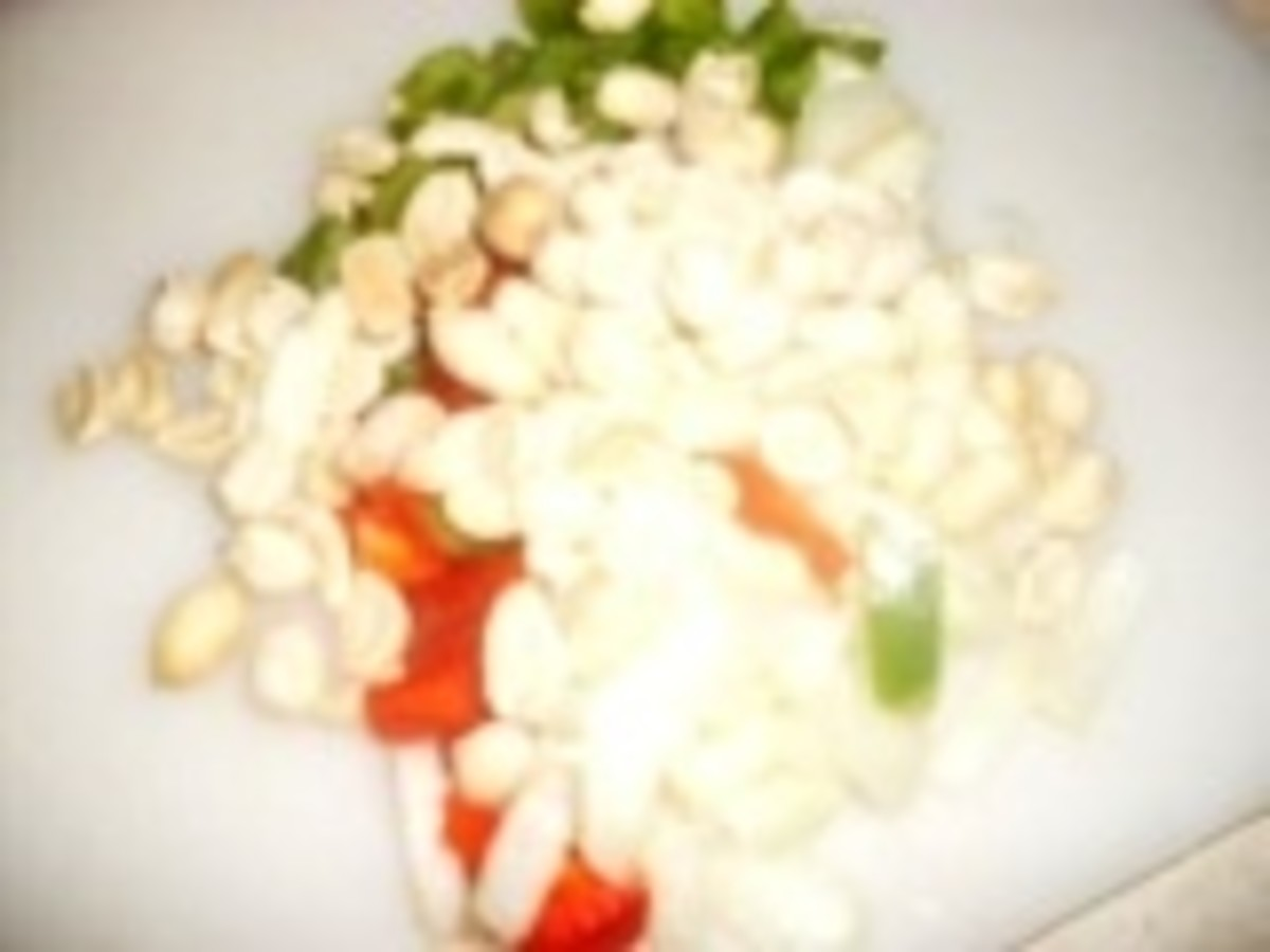As a garnish for the Cornish hens : dry roasted peanuts, peppers and onions