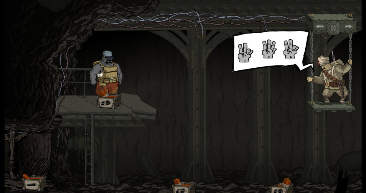Freddie sets up a series of explosives in Valiant Hearts.