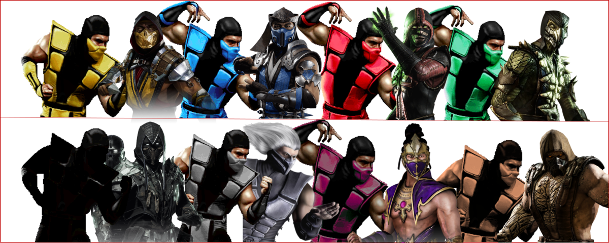 The many different ninjas and the colors of their clans over the years since their introduction into the franchise.