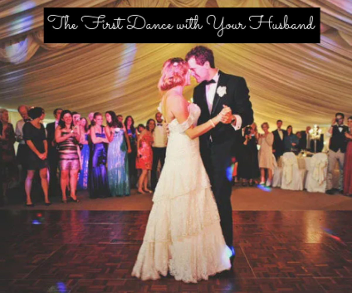 Tips for your first wedding dance (1) wear shoes that you're comfortable wearing, (2) change to a dress that isn't too long and won't get caught, (3) smile and give eye contact to your partner, (4) don't overthink things.