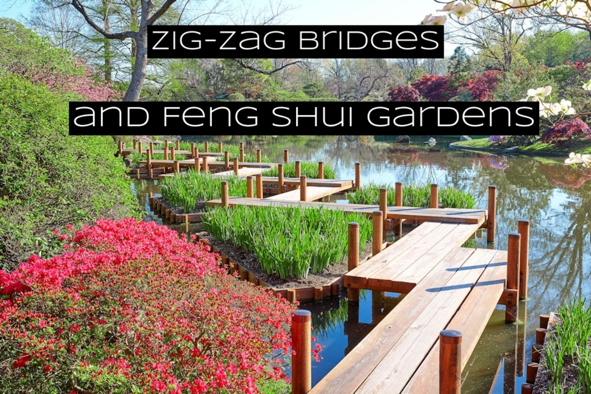 Zig-zag bridges add excitement to a walk. These bridges are an excellent way to add energy, and bring out some fire feng shui while crossing a water body.