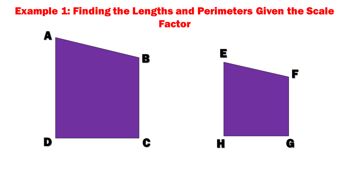 Example 1: Finding the Lengths and Perimeters Given the Scale Factor