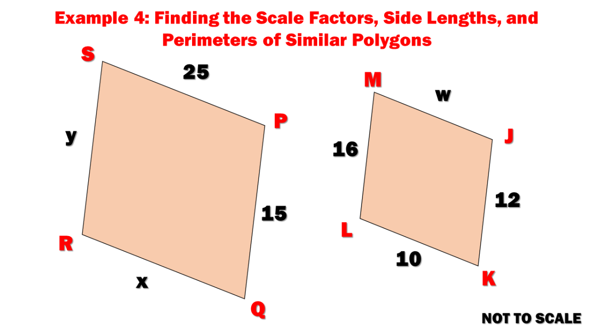 Example 4: Finding the Scale Factors, Side Lengths, and Perimeters of Similar Polygons
