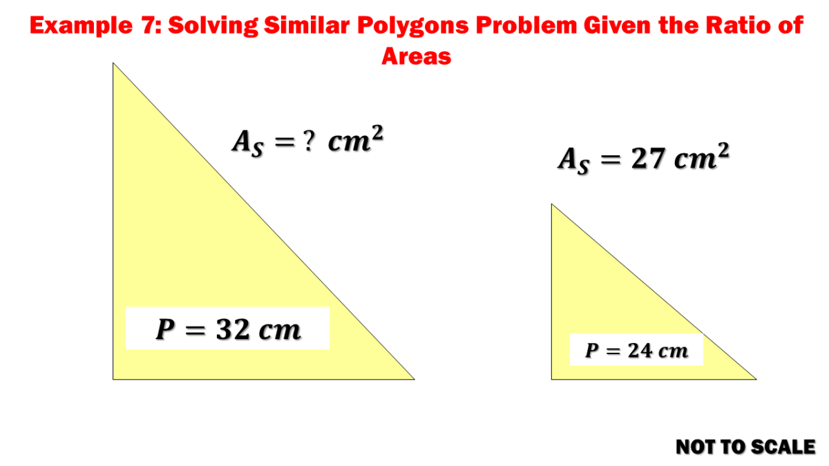 Example 7: Solving the Area of the Larger Triangle Given the Perimeters of Similar Polygons