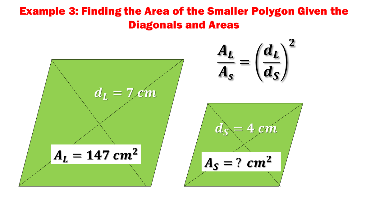 Example 3: Finding the Area of the Smaller Polygon Given the Diagonals and Areas