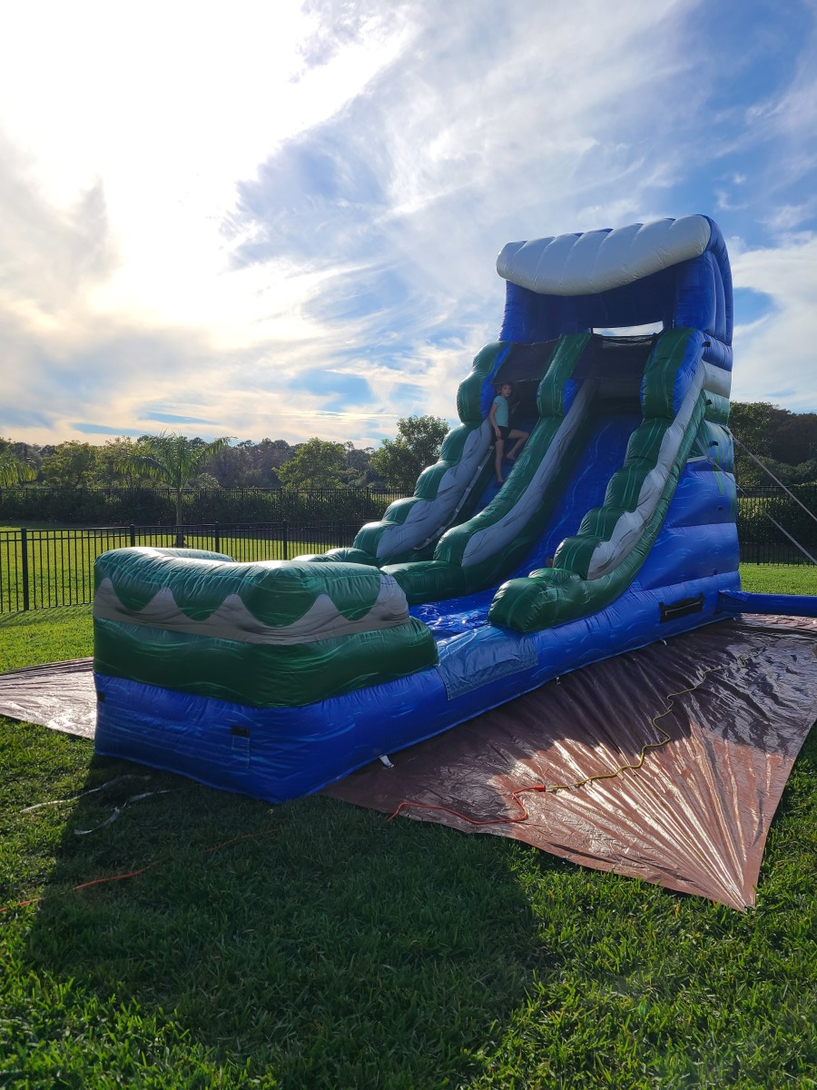 This is one of the inflatable slide models we rent to clients.