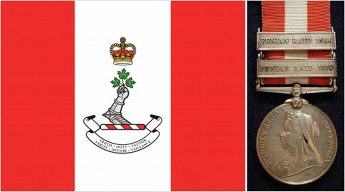 The red-white-red pattern is based on the flag of the Royal Military College of Canada (left) and the ribbon of the Canada General Service Medal of 1899 (right).