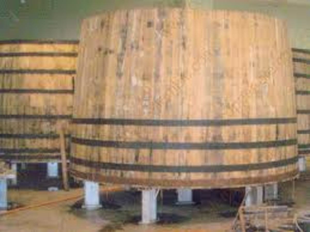 On a vat like this we would set up the crushing machine to crush the grapes that we brought in from the vineyards.